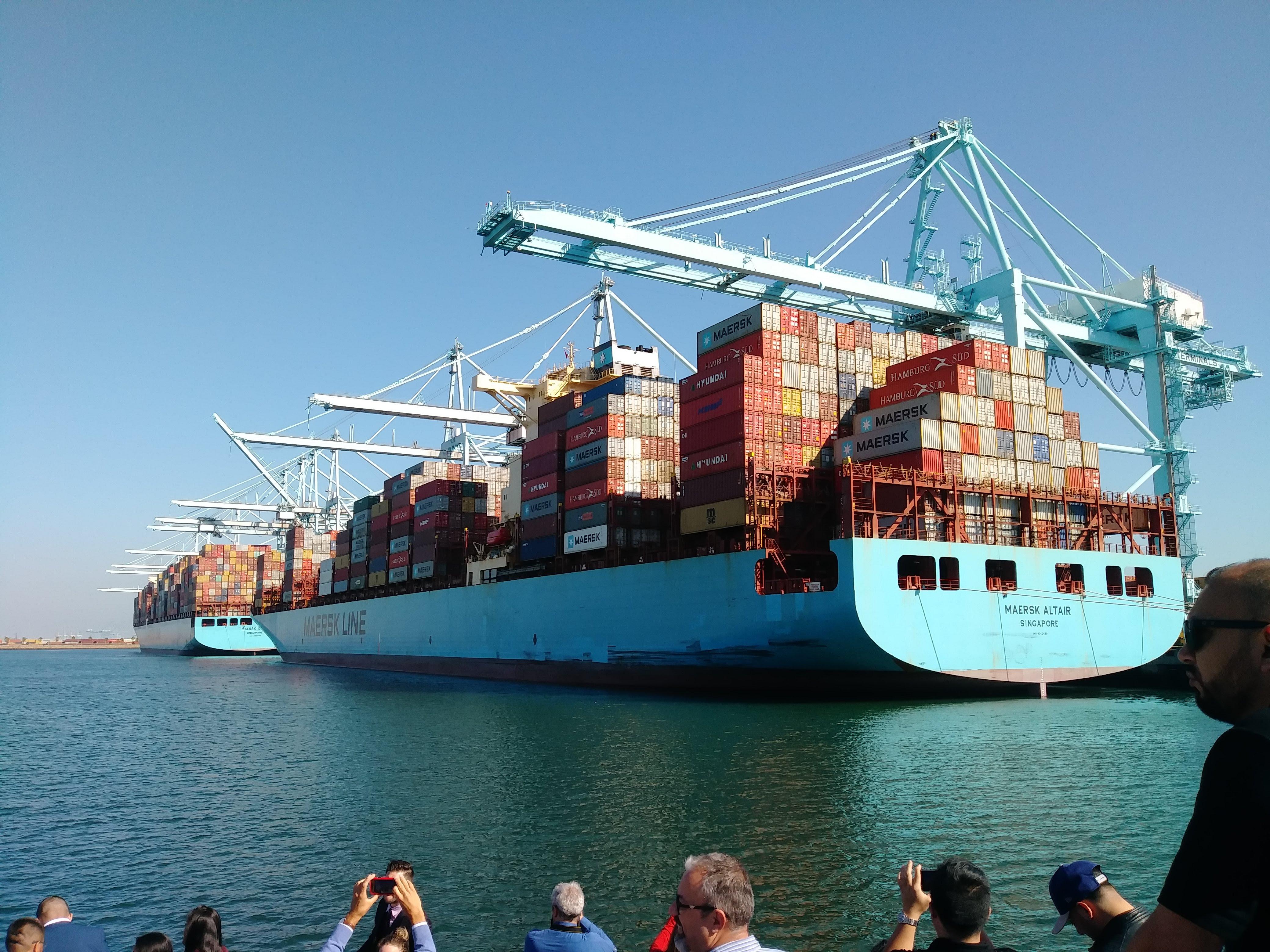 デンマークに本社があるMAERSKのコンテナ船。