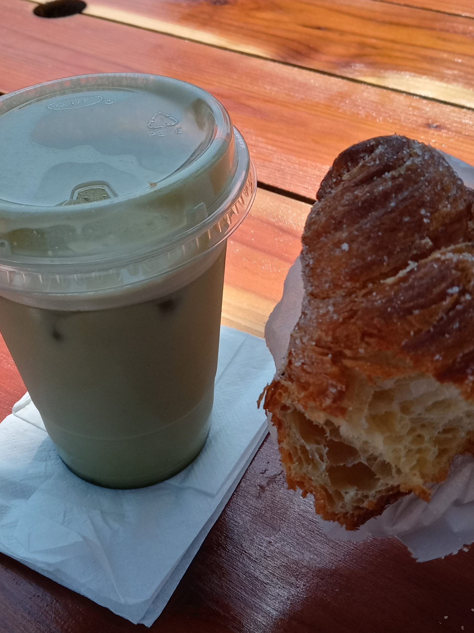 """Pirate's chai and my favorite """" Morning Bun""""."""